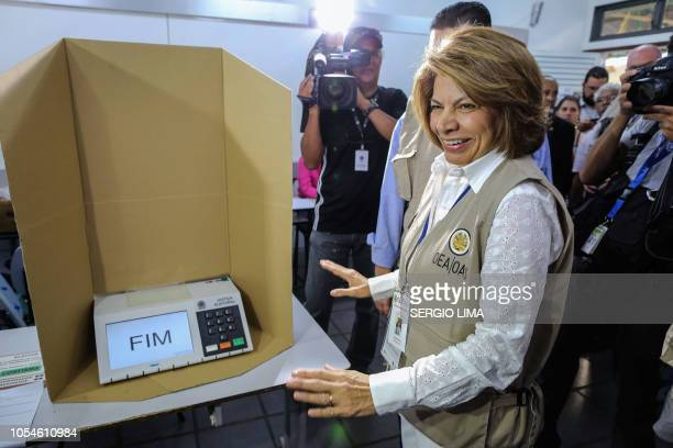 Former Costa Rican president Laura Chinchilla head of the Organization of American States Electoral Observation Mission to Brazilian elections visits...