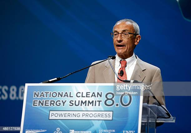 Former counselor to President Barack Obama John Podesta accepts the Clean Energy Project Founders' Award during the National Clean Energy Summit 80...
