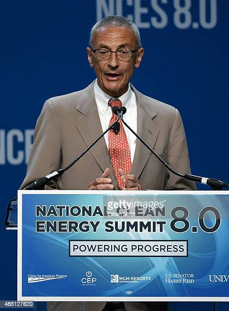 Former counselor to President Barack Obama John Podesta accepts the Clean Energy Project Founders' Award at the National Clean Energy Summit 80 at...