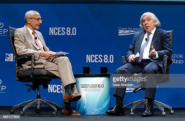Former counselor to President Barack Obama John Podesta and US Secretary of Energy Ernest Moniz speak during the National Clean Energy Summit 80 at...