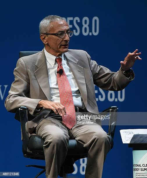 Former counselor to President Barack Obama John Podesta speaks at the National Clean Energy Summit 80 at the Mandalay Bay Convention Center on August...
