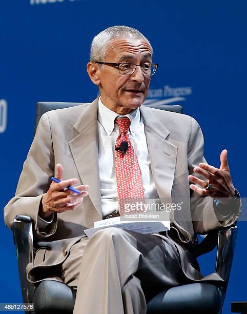 Former counselor to President Barack Obama John Podesta speaks during the National Clean Energy Summit 80 at the Mandalay Bay Convention Center on...