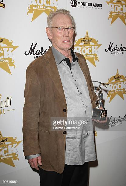 Former Cream drummer Ginger Baker with his Innovator award during the Classic Rock Roll Of Honour Awards at the Park Lane Hotel on November 2 2009 in...