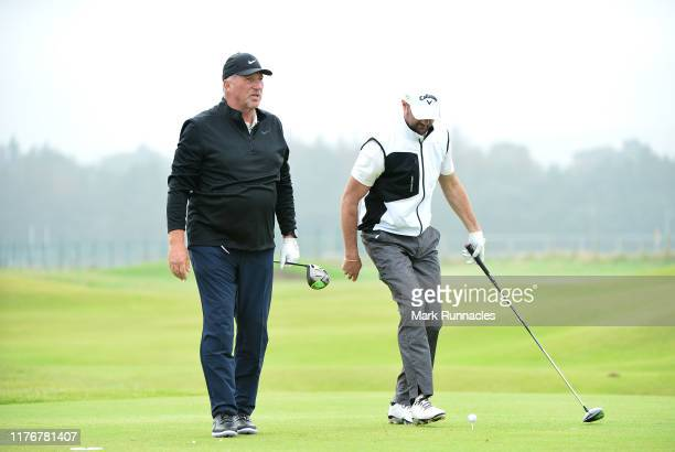 Former Cricket player Sir Ian Botham on the 5th hole during previews for the Alfred Dunhill Links Championship at The Old Course on September 24,...