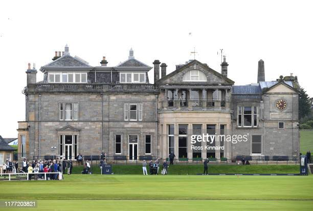 Former Cricket player, Sir Ian Botham tees off on the 1st hole during Day one of the Alfred Dunhill Links Championship at The Old Course on September...