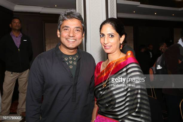 Former cricketer Ajay Jadeja with his wife Aditi Jaitley during a launch of former cricketer VVS Laxman's autobiography 281 and Beyond Coauthored by...