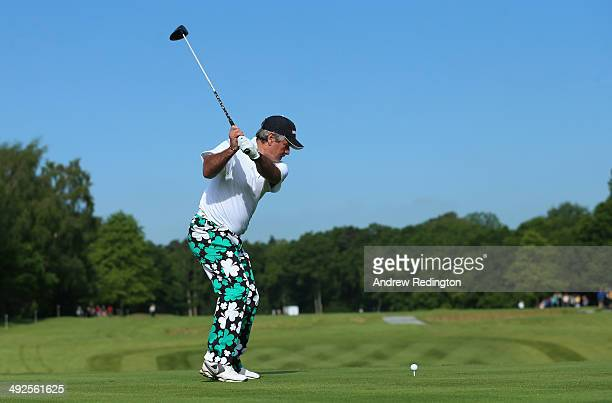 Former Cricketer Allan Lamb tees off during the ProAm ahead of the BMW PGA Championship at Wentworth on May 21 2014 in Virginia Water England