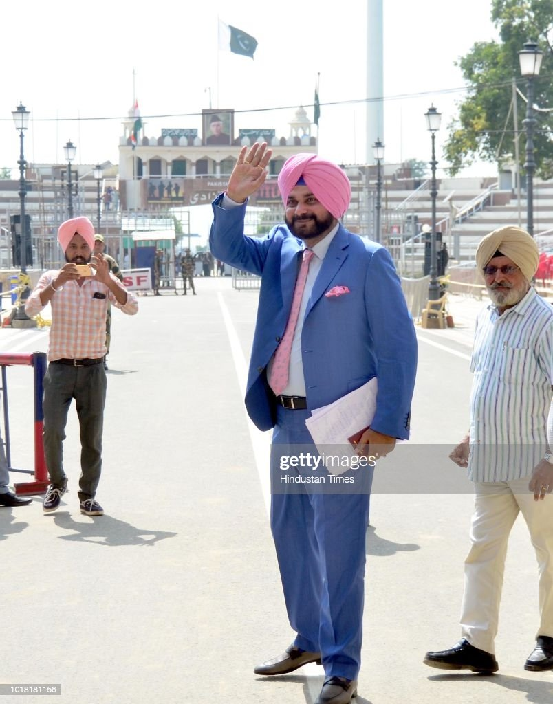 Former Cricketer And Congress leader Navjot Singh Sidhu Crosses Attari-Wagah Border To Attend Swearing-In Ceremony Of Pakistan's Prime Minister Designate Imran Khan