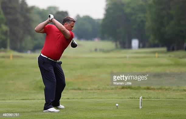 Former Cricketer Darren Gough tees off during the ProAm ahead of the BMW PGA Championship at Wentworth on May 21 2014 in Virginia Water England