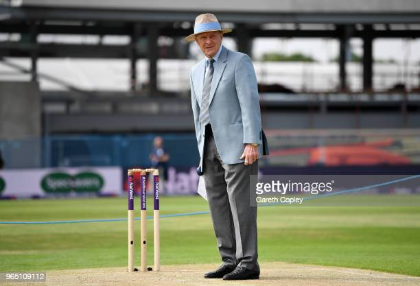 Former cricketer Geoffrey Boycott presents the camera on day one of the 2nd test between England and Pakistan at Headingley on June 1, 2018 in Leeds,...