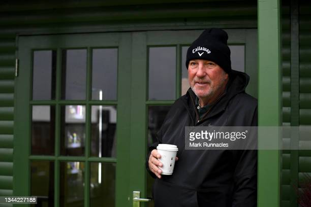 Former cricketer Ian Botham looks on ahead of his round during Day Two of The Alfred Dunhill Links Championship at Carnoustie Links on October 01,...