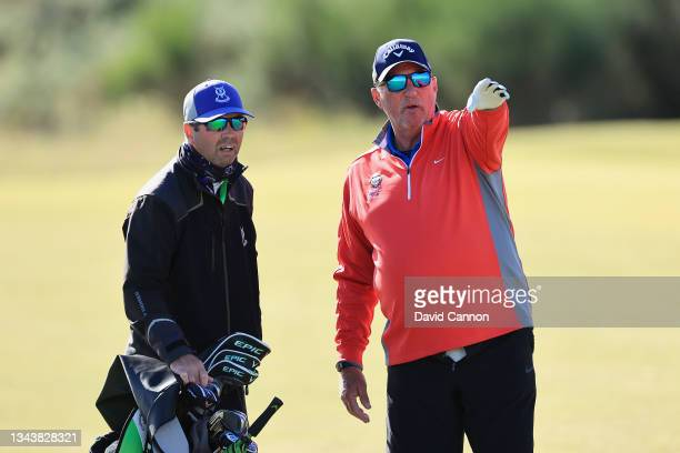 Former cricketer Ian Botham looks on during a practice round ahead of The Alfred Dunhill Links Championship at Kingsbarns on September 29, 2021 in St...