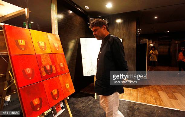 Former cricketer Kapil Dev at preview of Paintings Auction to raise fund for NGO Kushi on January 6, 2015 in Mumbai, India. Many prominent...