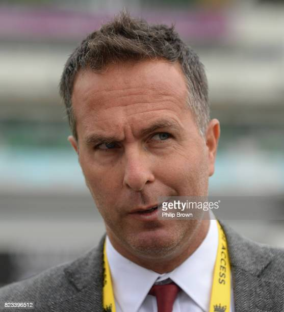 Former cricketer Michael Vaughan on the field before the first day of the 3rd Investec Test match between England and South Africa at the Kia Oval on...