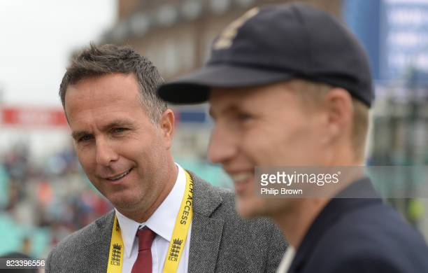 Former cricketer Michael Vaughan with captain Joe Root on the field before the first day of the 3rd Investec Test match between England and South...