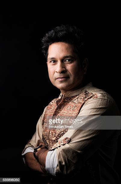 Former cricketer Sachin Tendulkar at the launch of his premium menswear and accessories brand 'True Blue' at Phoenix Lower Parel on May 28 2016 in...