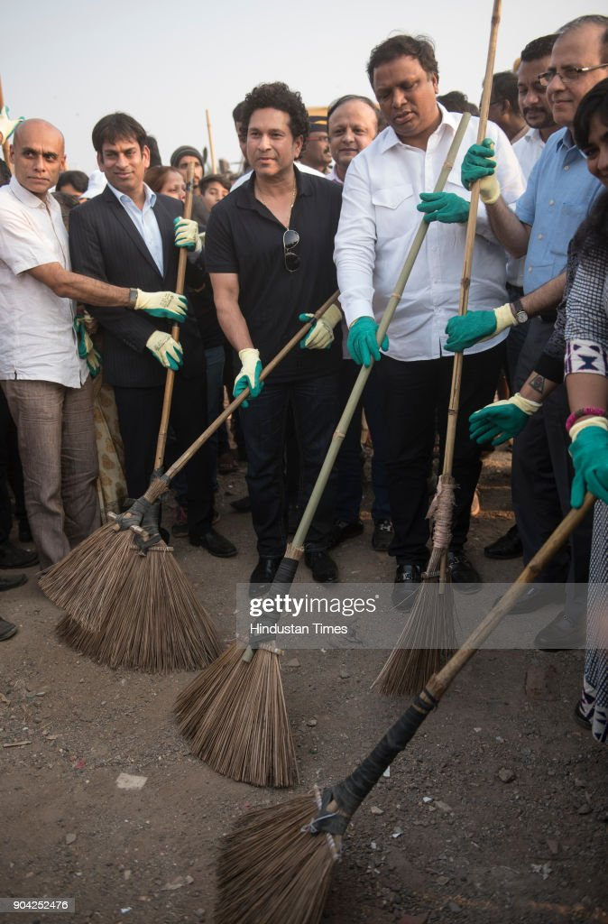 Former cricketer Sachin Tendulkar inaugurates the dedicated cleaning project for Chimbai beach at Bandra on January 11, 2018 in Mumbai, India. Under the project, the 3.5 km stretch of lost Chimbai beach, will be spruced up with the help of mechanised sweeping and lights will be installed. Earlier, the beach used to be manually cleaned.