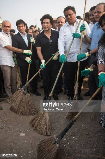 Former cricketer Sachin Tendulkar inaugurates the dedicated cleaning project for Chimbai beach at Bandra on January 11 2018 in Mumbai India Under the...