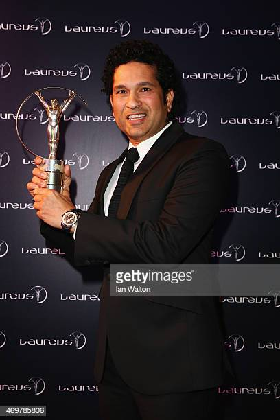 Former Cricketer Sachin Tendulkar of India attends the 2015 Laureus World Sports Awards at Shanghai Grand Theatre on April 15, 2015 in Shanghai,...
