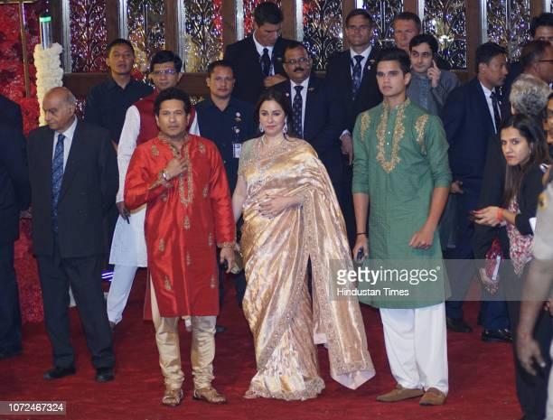 Former Cricketer Sachin Tendulkar with wife Anjali Tendulkar and son Arjun Tendulkar at the wedding of Mukesh Ambani's daughter Isha Ambani and Anand...