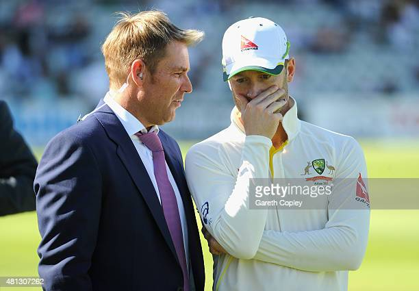 Former cricketer Shane Warne speaks with Australian captain Michael Clarke after winning the 2nd Investec Ashes Test match between England and...