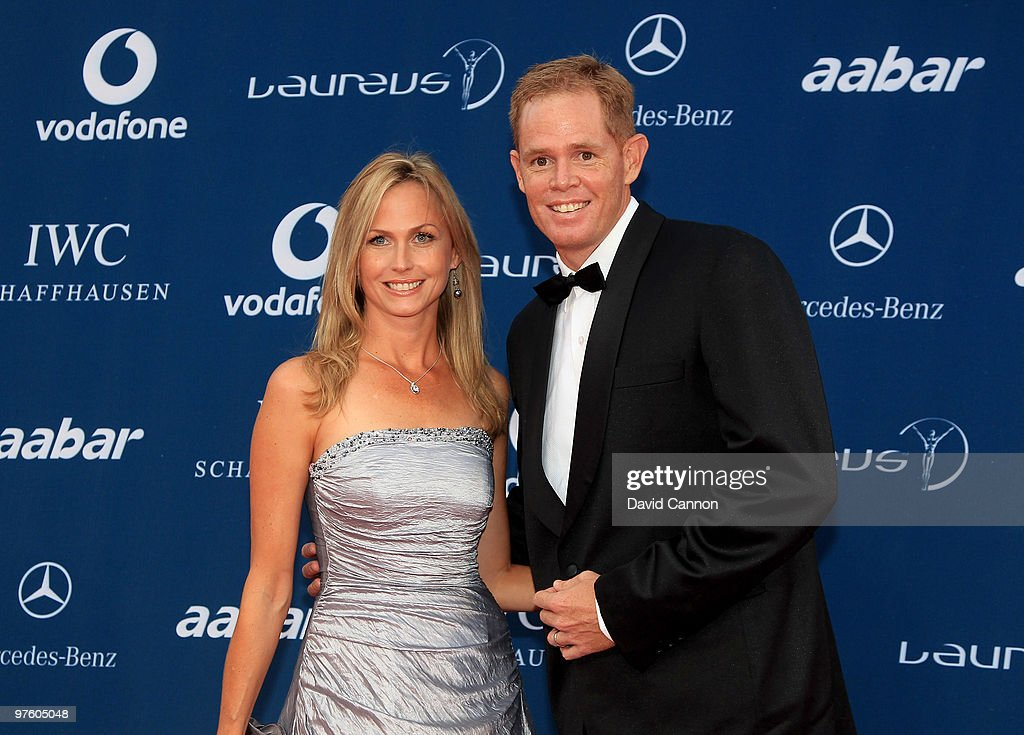 Former Cricketer Shaun Pollock and wife Patricia Lauderdale arrive at the Laureus World Sports Awards 2010 at Emirates Palace Hotel on March 10, 2010 in Abu Dhabi, United Arab Emirates.