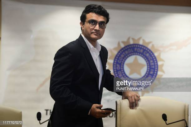 Former cricketer Sourav Ganguly, newly-elected president of the Board of Control for Cricket in India , arrives for a press conference at the BCCI...