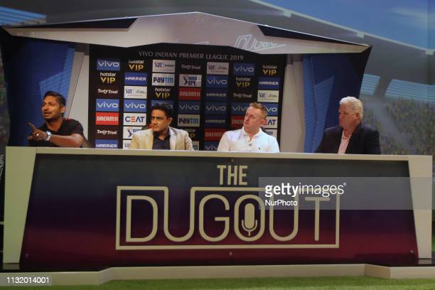 Former cricketers address the media in a press conference in Mumbai India on 22 March 2019 As the official broadcaster Star Sports has unveiled...