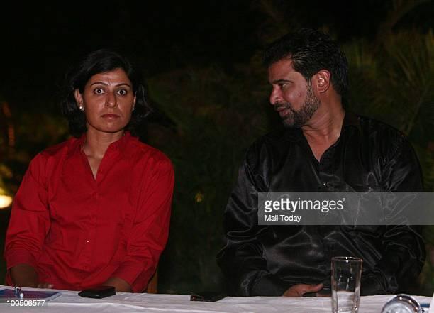 Former cricketers Anjum Chopra and Chetan Sharma at the launch of the 'Wow' aluminium bat in New Delhi on May 21 2010