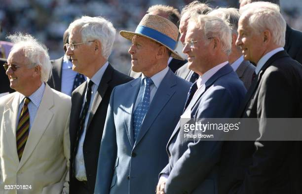 Former cricketers Bob Taylor, Mike Brearley, Geoffrey Boycott, Mike Smith and David Gower pose for a photograph to celebrate the 50th test at...