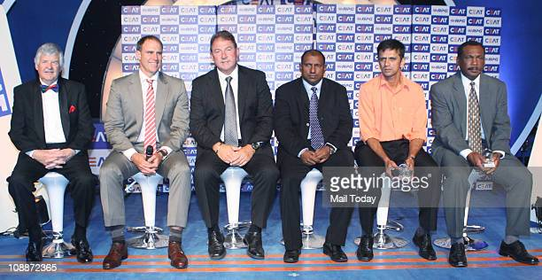 Former cricketers Rahul Dravid Arvinda De Silva G Marsh M Hayden and Glenn Turner during the Ceat Cricket Rating Award function in Mumbai on Thursday