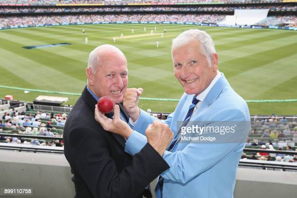Former cricketers Rick McCosker of Australia and Bob Willis of England pose during day three of the Fourth Test Match in the 2017/18 Ashes series...