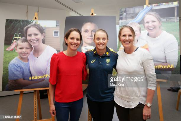 Former cricketers Sarah Elliott and Emily Divin pose with Australian cricketer Alyssa Healy during the CA / ACA Player Parental Leave Launch at...