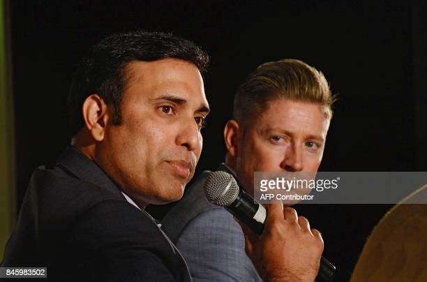 Former cricketers VVS Laxman of India and Michael Clarke of Australia interact with the media ahead of the IndiaAustralia cricket series starting...