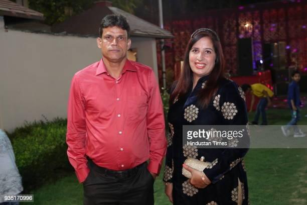 Former crickter Robin Singh Jr with Pratibha Singh during the wedding reception of Indian cricketer Parvinder Awana and Sangit Awana at Shiv Garden...