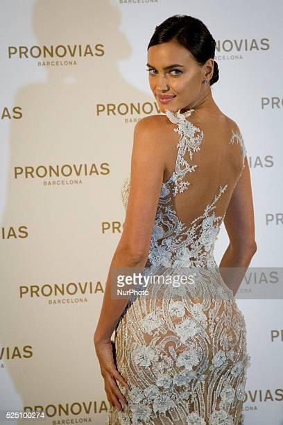 Former Cristiano Ronaldo's girlfriend Irina Shayk walks the runway at the Pronovias fashion show as part of 'Barcelona Bridal Week 2015' on May 8...