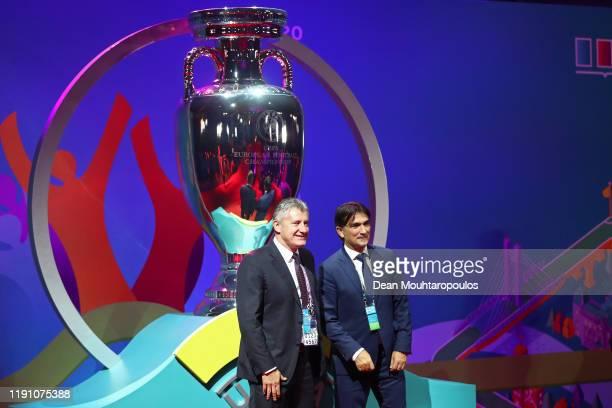 Former Croatia Player Davor Suker and Zlatko Dalic Head Coach of Croatia pose for a photo infront of a UEFA Euro Replica Trophy during the UEFA Euro...