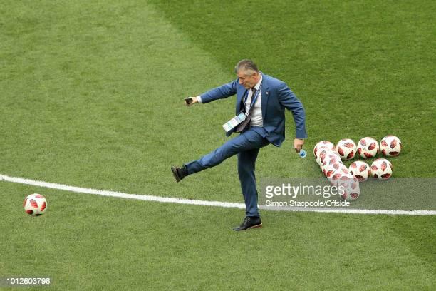 Former Croatia player Davor Suker kicks a ball ahead of the 2018 FIFA World Cup Russia Final between France and Croatia at the Luzhniki Stadium on...