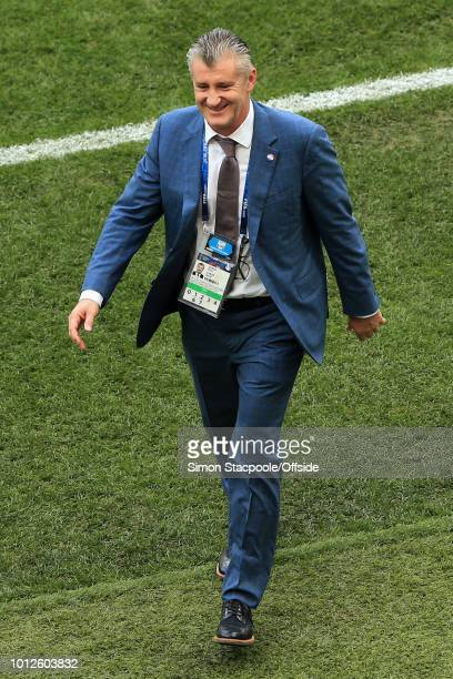 Former Croatia player Davor Suker looks on ahead of the 2018 FIFA World Cup Russia Final between France and Croatia at the Luzhniki Stadium on July...