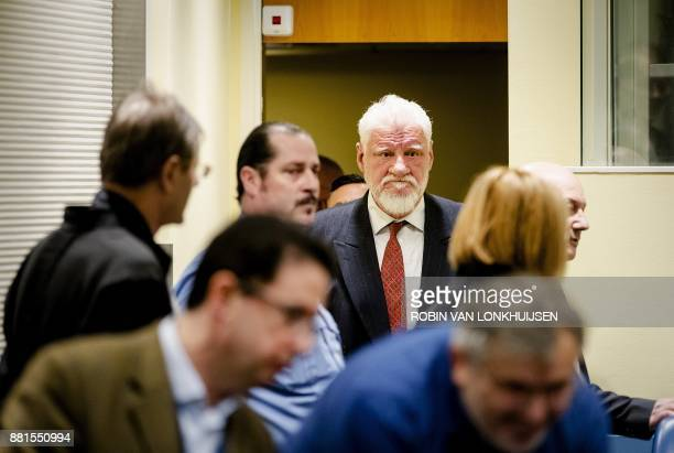 Former Croatian general Slobodan Praljak is pictured prior to the judgement in the appeals case of six former Bosnian Croat political and military...
