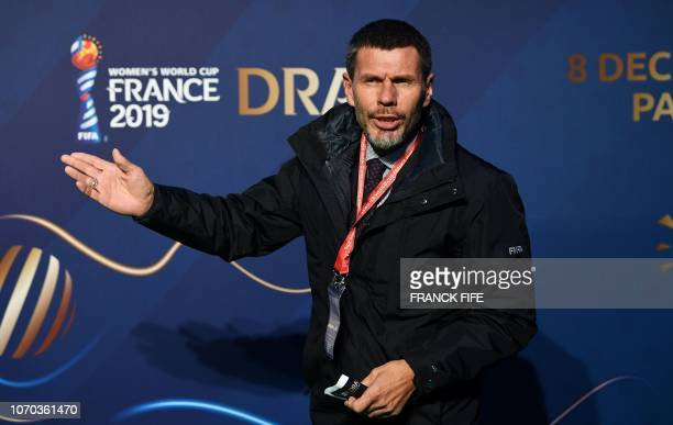 Former Croatian player Zvonimir Boban poses upon arrival at the final draw of the 2019 FIFA Women World cup football tournament in...