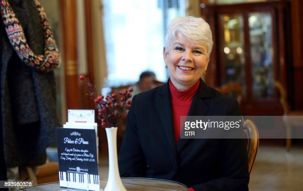 Former Croatian Prime Minister Jadranka Kosor poses during an interview with AFP about the legacy of the first Croatian President Franjo Tudjman on...
