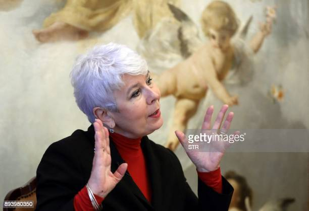 Former Croatian Prime Minister Jadranka Kosor speaks during an interview with AFP about the legacy of the first Croatian President Franjo Tudjman on...