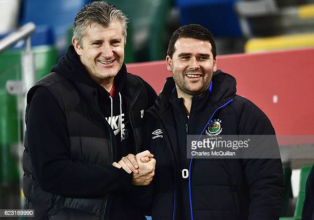 Former Croatian striker Davor Suker meets former Northern Ireland striker David Healy as the Croatia squad take part in a training session at Windsor...