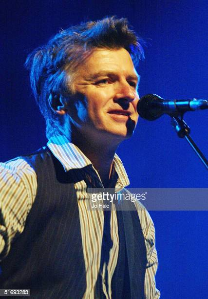 Former Crowded House members Neil andTim Finn perform on stage during the final dates of their UK tour at the Carling Apollo Hammersmith on November...