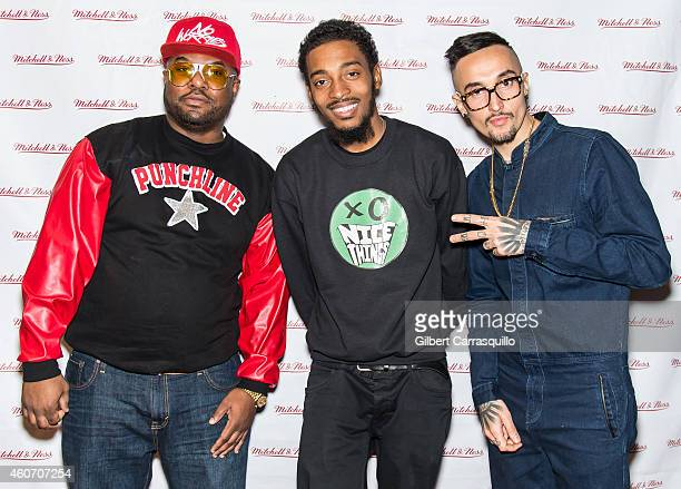 Former Cruiserweight Boxer Simon 'One Punch' Carr rapper Chill Moody and actor Luis Da Silva Jr attend the Mitchell Ness Holiday party at Mitchell...