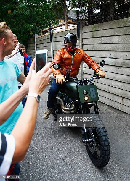 Former Crystal Palace and Arsenal player Ian Wright arrives on a motorbike prior to the Barclays Premier League match between Crystal Palace and...