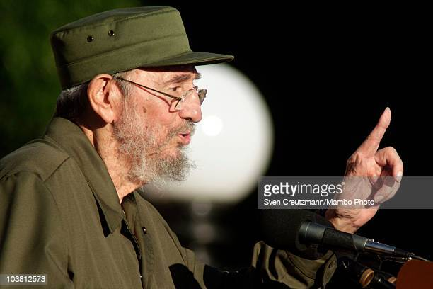 Former Cuban leader Fidel Castro gestures during an appearance in front of Cuban students on the stairs of the University of Havana September 3 in...