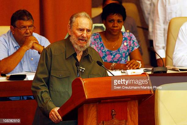 Former Cuban leader Fidel Castro talks during a meeting with the delegates of the National Assembly on August 7 in Havana Cuba Castro has appeared...