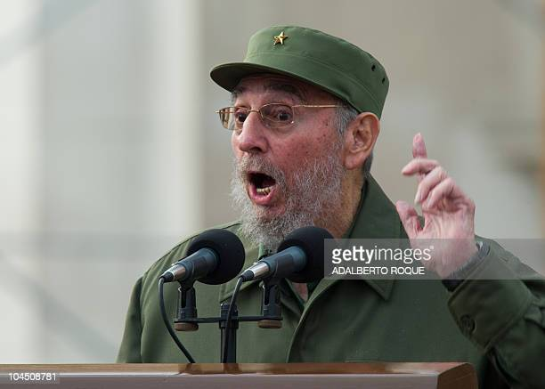 Former Cuban President Fidel Castro delivers a a speech during the commemoration of the 50th Anniversary of the Committees of Defense of the...